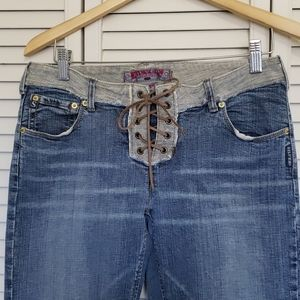 Vintage Silver Jeans, Lace up, Low Rise Flair